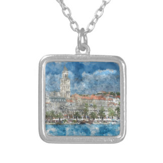 City of Split in Croatia Silver Plated Necklace