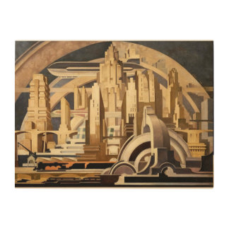 City of the Future Wood Canvas