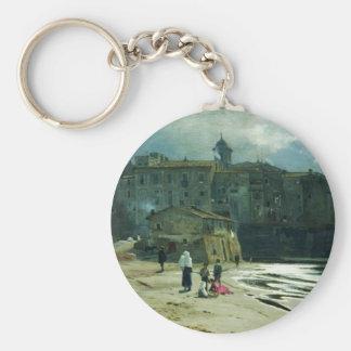 City on the seashore by Volodymyr Orlovsky Basic Round Button Key Ring