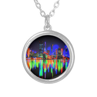 City panorama silver plated necklace