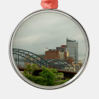 City - Pittsburg PA - The grand city of Pittsburg Silver-Colored Round Decoration