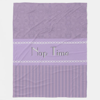 City Purple Abstract Coordinated Stripes Your Text Fleece Blanket