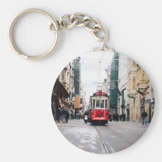 City Rail Car Basic Round Button Key Ring