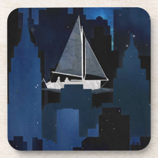 City Sailing at Night Beverage Coasters
