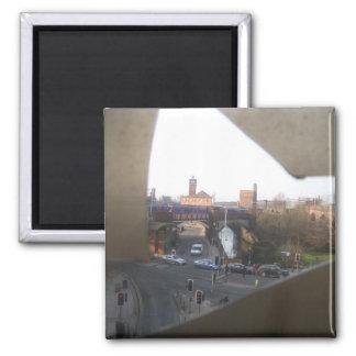 City Scene Through Cracked Panel Magnet