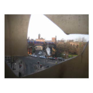 City Scene Through Cracked Panel Postcard