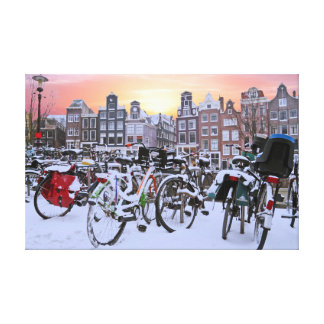 City scenic from snowy Amsterdam Netherlands Canvas Print