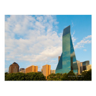 city skyline, a landmark office tower, completed postcard