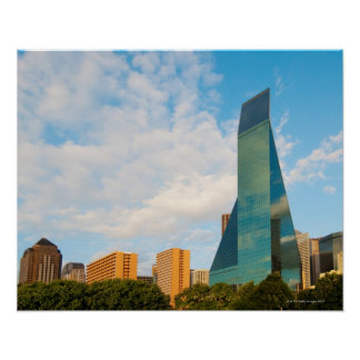 city skyline, a landmark office tower, completed poster