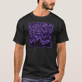 City Skyline in Wavy Night Skies T-Shirt