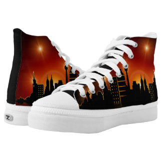 City Skyline over sunset High-top shoes