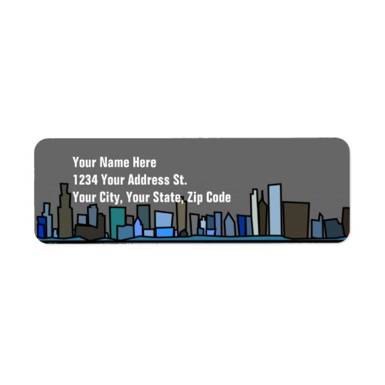 City Skyline Return Address Labels