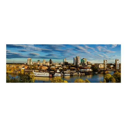 City Skyline Sacramento California Poster