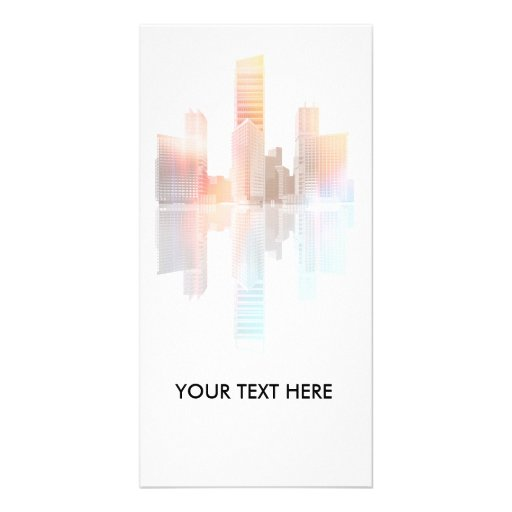 City skyscrapers and office buildings photo card