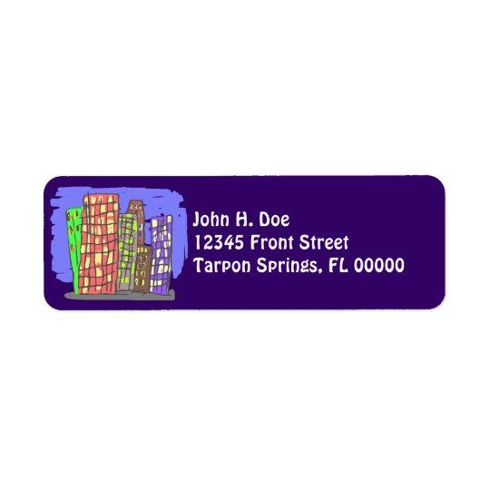 City Skyscrapers Plum Purple Return Address Label