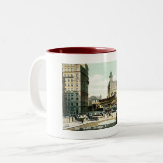 City Square, Brooklyn NY, 1908 Vintage Two-Tone Coffee Mug
