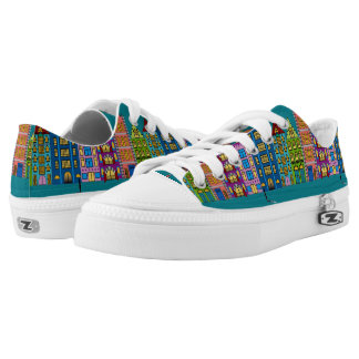 City Street Folk Art on Sneakers/Shoes Printed Shoes