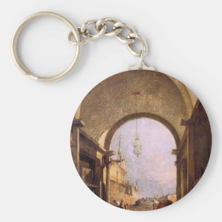 City View by Francesco Guardi Basic Round Button Key Ring