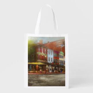 City - Washington DC - Life on 7th St 1912 Reusable Grocery Bag