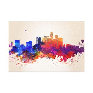 City watercolor print on canvas los angeles