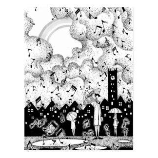 City where music falls postcard