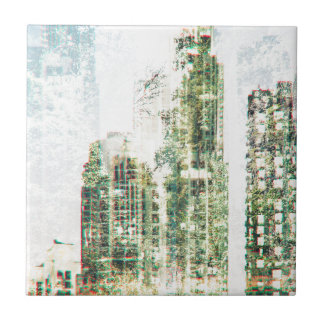 Cityscape and forest ceramic tile