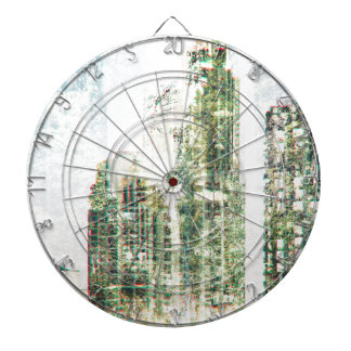 Cityscape and forest dartboard
