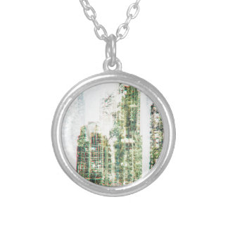 Cityscape and forest silver plated necklace