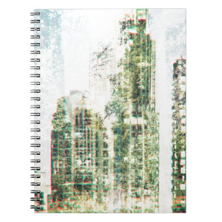 Cityscape and forest spiral notebook
