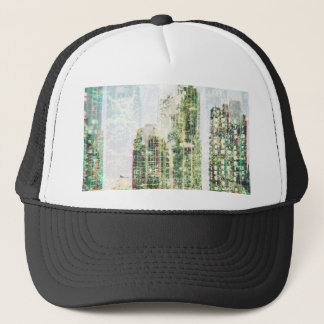 Cityscape and forest trucker hat