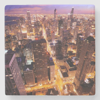 Cityscape at night of Chicago Stone Coaster