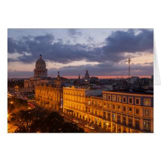 Cityscape at sunset, Havana, Cuba Card