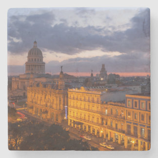 Cityscape at sunset, Havana, Cuba Stone Coaster