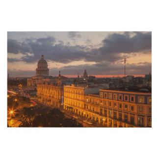 Cityscape at sunset, Havana, Cuba Wood Print