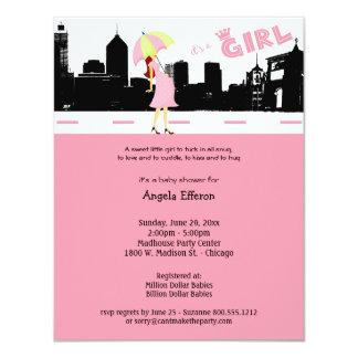 Cityscape Baby Girl Shower Invitation