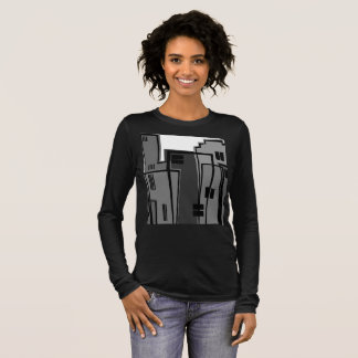 Cityscape Black and White Long Sleeve Tee Women