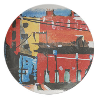 cityscape by Lyn Graybeal Dinner Plate