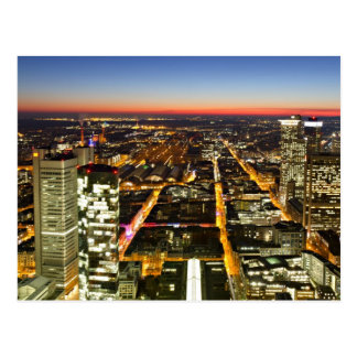 Cityscape of Frankfurt during twilight Postcard