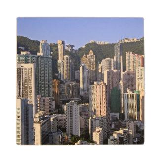 Cityscape of Hong Kong, China Maple Wood Coaster