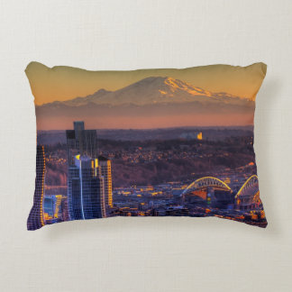 Cityscape view of Seattle downtown, football Decorative Cushion