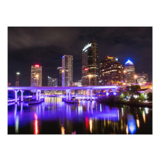 Cityscape with Purple Reflection of Lights Photo Print
