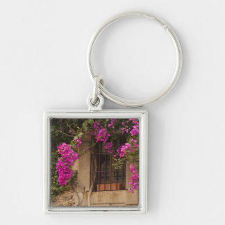 Ciudad Monumental, flower-covered buildings Silver-Colored Square Key Ring