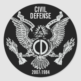 CIVIL DEFENSE CLASSIC ROUND STICKER
