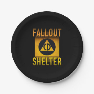 Civil Defense Fallout Shelter Atomic Age Grunge : 7 Inch Paper Plate