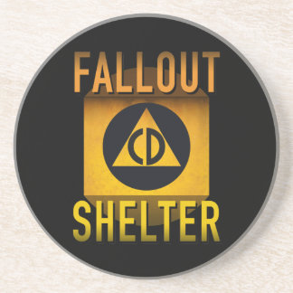 Civil Defense Fallout Shelter Atomic Age Grunge : Drink Coaster