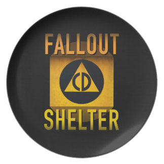 Civil Defense Fallout Shelter Atomic Age Grunge : Plate