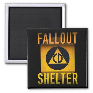 Civil Defense Fallout Shelter Atomic Age Grunge : Square Magnet