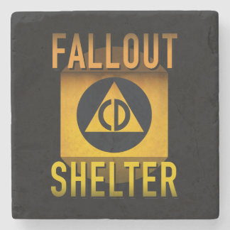 Civil Defense Fallout Shelter Atomic Age Grunge : Stone Coaster