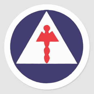 Civil Defense Medical Logo Sitcker Classic Round Sticker
