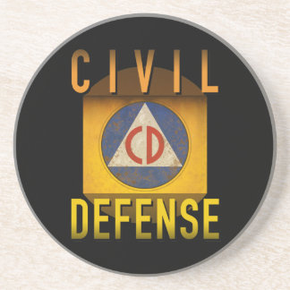 Civil Defense Symbol Retro Atomic Age Grunge : Coaster
